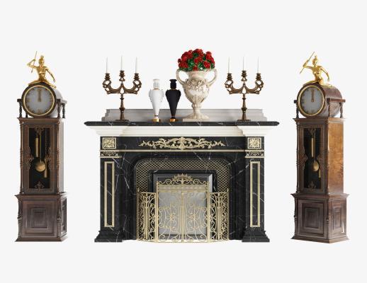 新古典雕花壁炉