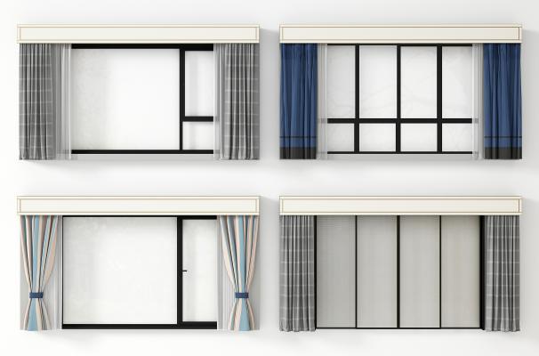 现代窗 门 窗帘组合