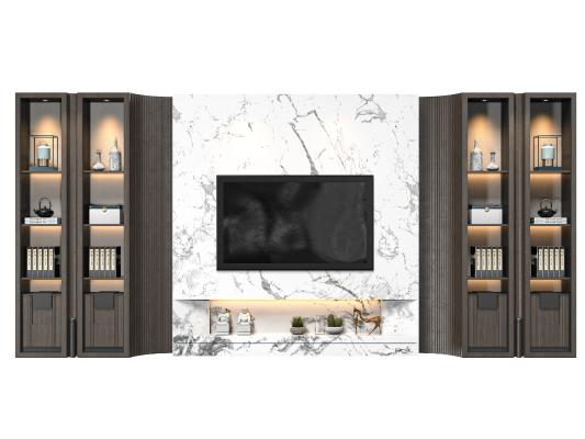 新中式电视背景柜 电视背景墙 电视机