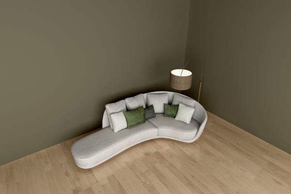 现代三人沙发 落地灯