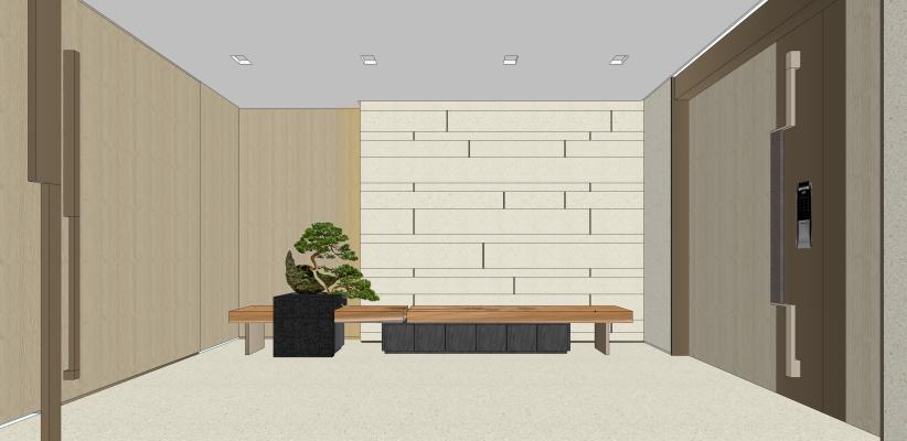 新中式风格别墅玄关 端景台 罗汉松