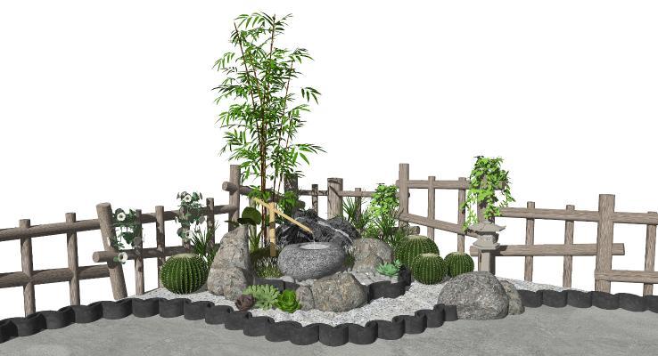 新中式景观小品 庭院景观 跌水景观