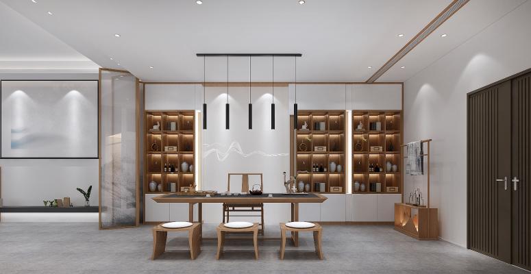 新中式地下泡茶区 装饰品