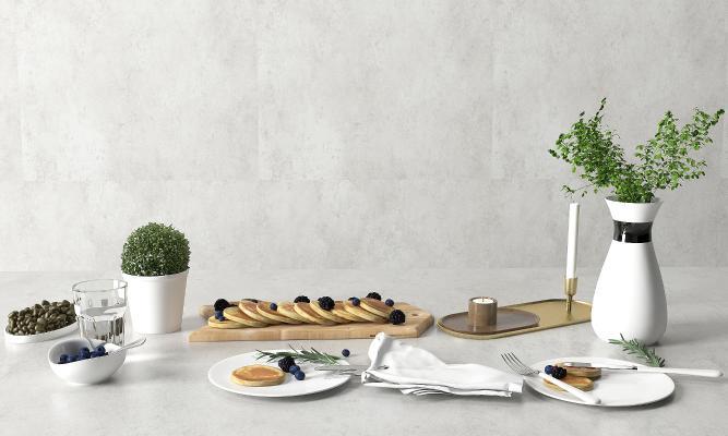 现代餐具 甜品 绿植