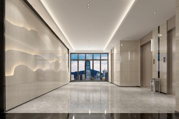 现代简约轻奢电梯厅