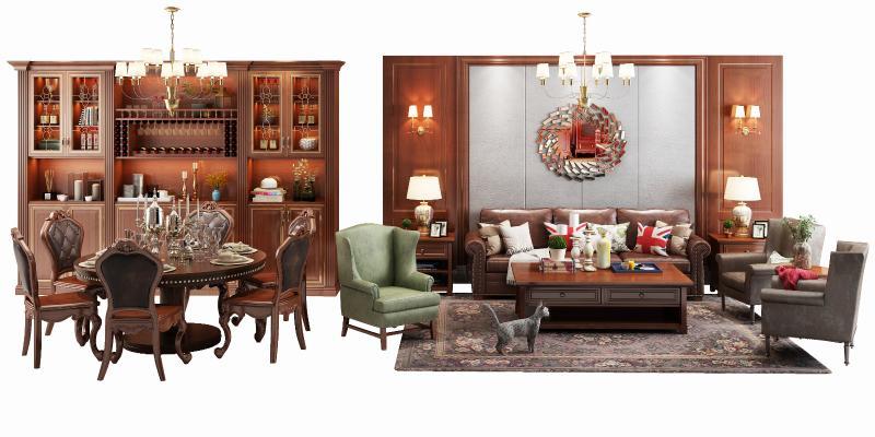 美式沙发酒柜摆件组合