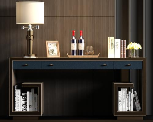 新中式实木皮革书桌 饰品组合
