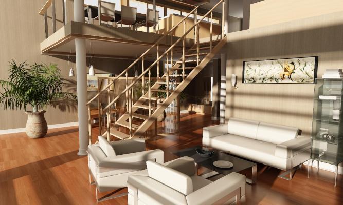 地中海复式客厅