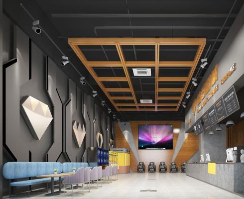 现代电影院 售票等候大厅 吊灯 沙发