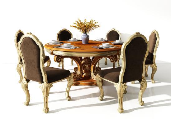欧式餐桌椅组合