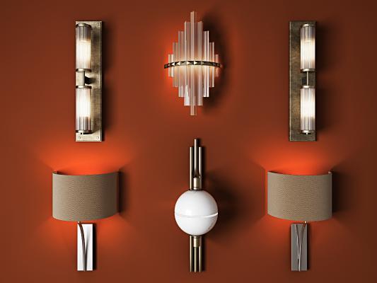 现代灯具组合 壁灯 吊灯