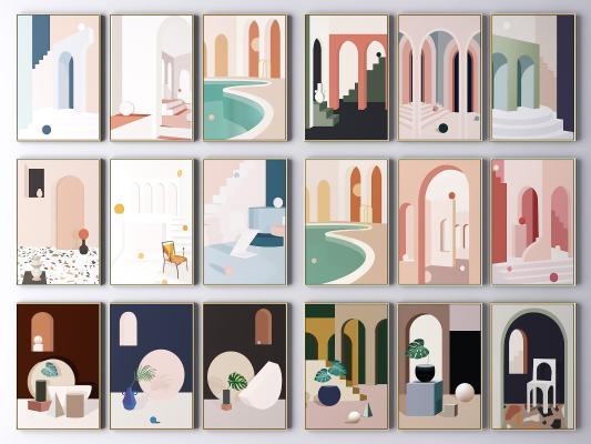 现代建筑装饰画 抽象画 艺术画