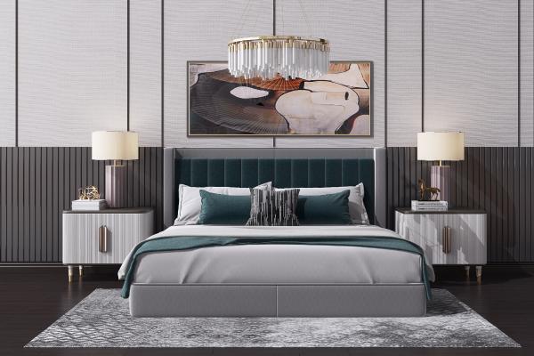 現代輕奢雙人床 床頭柜 吊燈