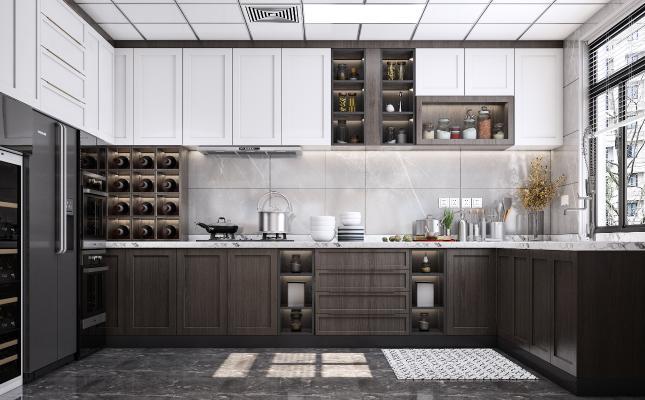 现代风格厨房 橱柜 灶具