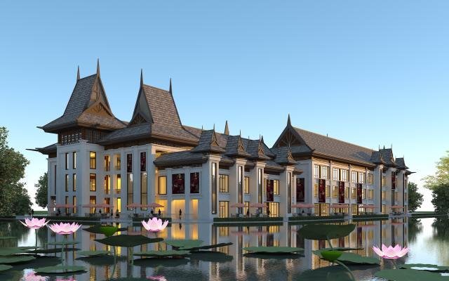 东南亚风格商业街 会所 版纳风格商业街 酒店 傣族风格商业街