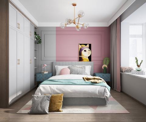 北欧卧室女孩房 吊灯 挂画