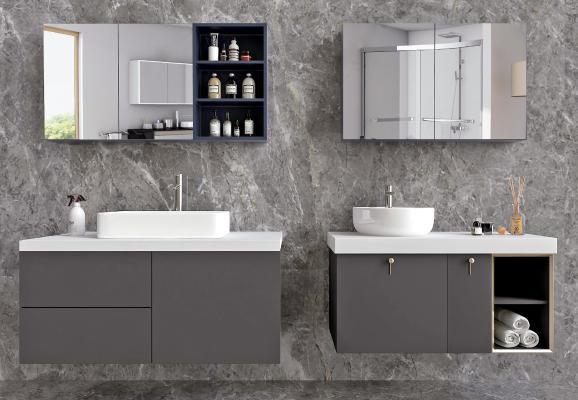 现代洗手台组合 洗手间 洗手盆