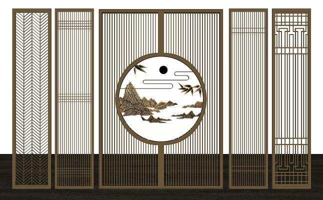 中式花格屏风隔断组合