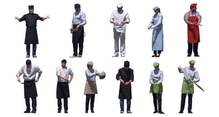 现代厨师 服务员 多人