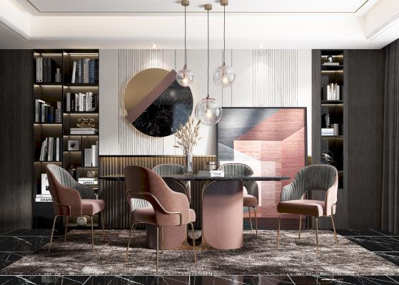 現代輕奢餐廳 餐桌 餐椅