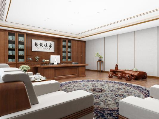 新中式办公室 办公桌椅 老板桌