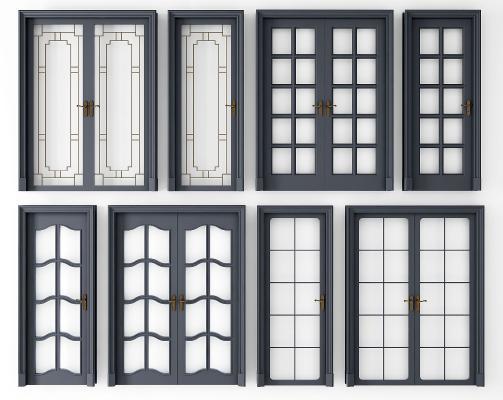 现代灰色玻璃单开 双开门组合