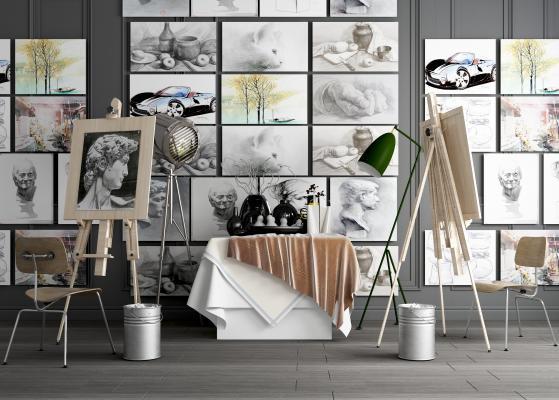 現代风格乐器画具 画板 画架 美术用品