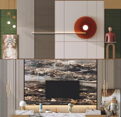 现代电视背景墙 沙发背景墙 石材电视柜
