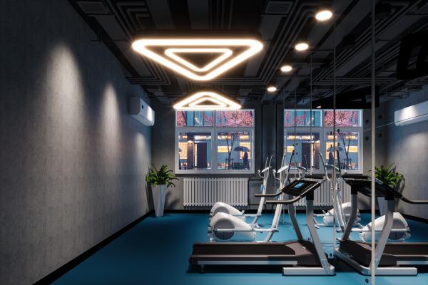 北歐簡約健身房,盆栽,鏡子,吊燈,管道,空調,壁掛空調,跑步機,動感單車
