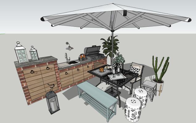 现代花园遮阳伞 休闲桌椅