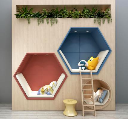 儿童背景墙装饰墙植物盆栽抱枕儿童书架组合 卡通背景墙 儿童床 儿童装饰架 娱乐区