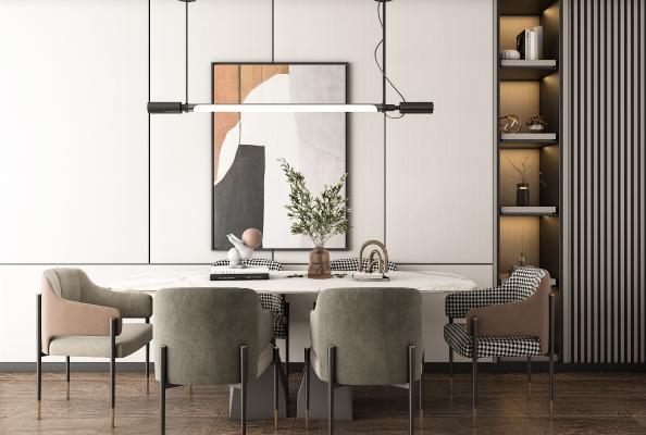 现代轻奢餐桌椅 抽象装饰挂画 饰品摆件