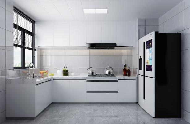 現代簡約廚房 櫥柜 冰箱