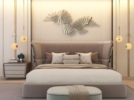 美式床 床头柜 吊灯