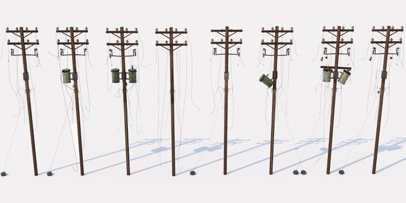 现代电线杆 电缆