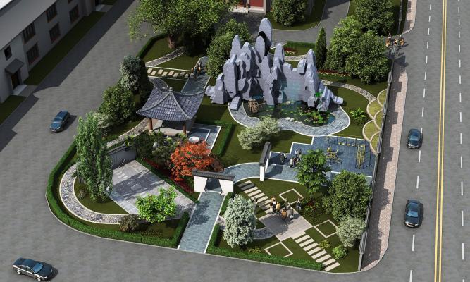 新中式公园 园林景观
