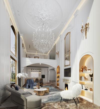 法式别墅客厅 吊灯 壁灯