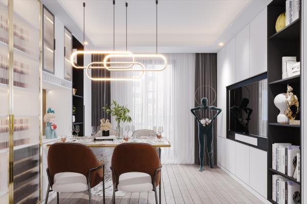 现代风格餐厅 餐桌椅 酒柜 吊灯