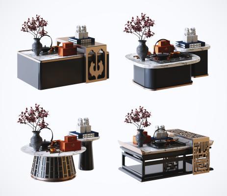 新中式高档大理石茶几 茶桌 茶台 装饰摆件组合