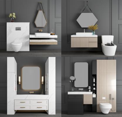 现代浴室柜 洗手台 大理石洗手台 洗手柜