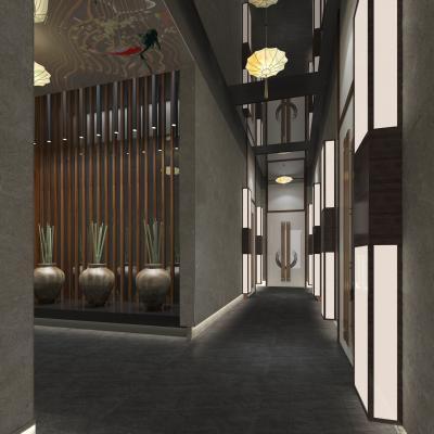 新中式风格酒店走道 摆件