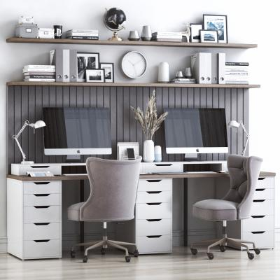 现代书桌椅 柱子