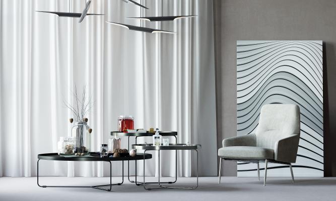 工业风组合茶几 布艺沙发 单人沙发