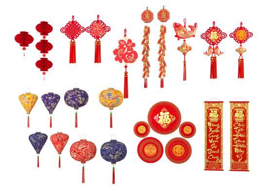 中式挂件 中国结 灯笼