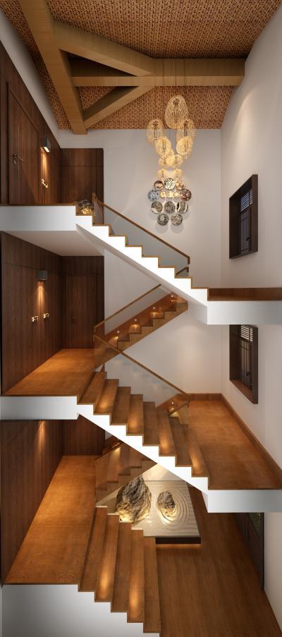 新中式风格酒店过道 民宿楼梯间