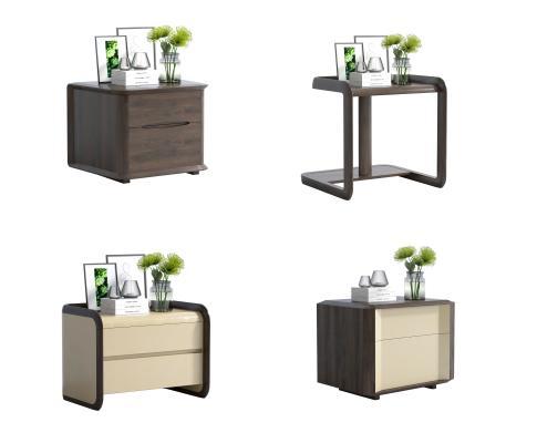 现代轻奢实木床头柜 简约床头柜 床头柜 摆件 摆设饰品