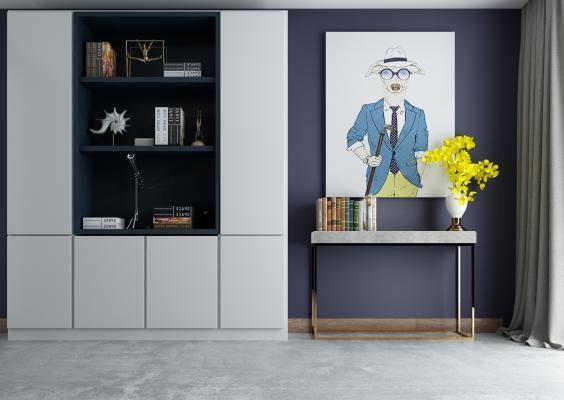 现代装饰柜架 玄关挂画