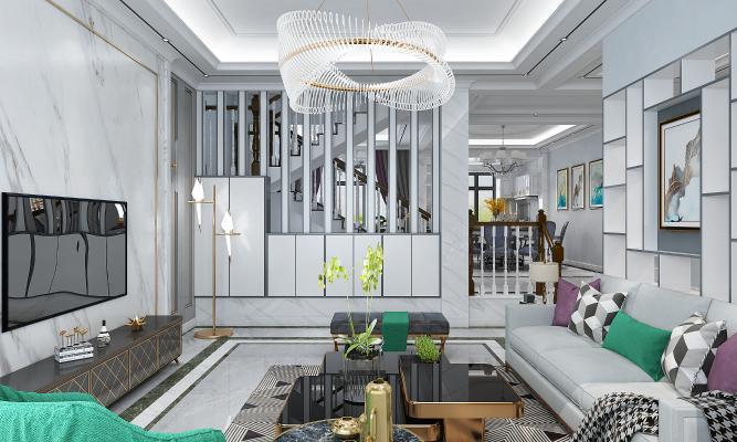 现代轻奢别墅客厅餐厅楼梯间