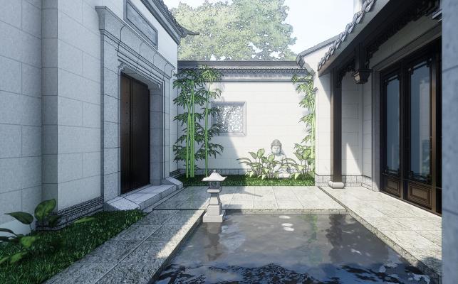 新中式四合院建筑景观