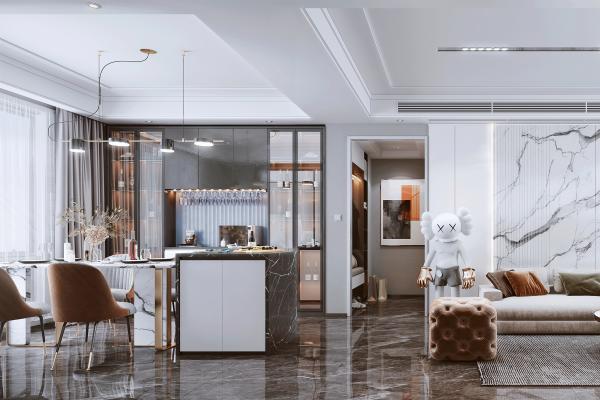 现代风格客餐厅 沙发 餐桌